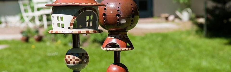 Gartenensemble, Vogelhaus, Windlicht, Vogeltränke
